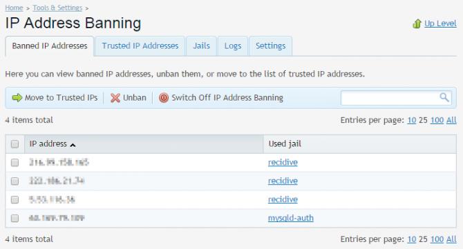 fail2ban Plesk banned IP list
