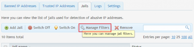 fail2ban PLesk filter management