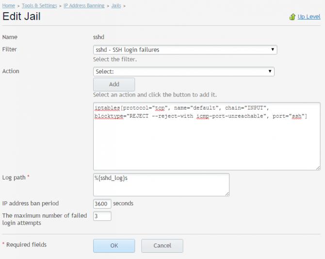 fail2ban Plesk jail edit settings