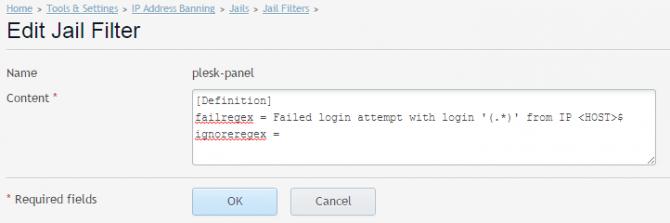 fail2ban Plesk Jail Filter